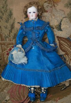 """12"""" (30 cm) Early Antique French Fashion Bisque Doll with Cobalt Blue Enamel Eyes by Barrois, c.1865"""