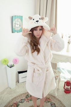 2015New Adult Animal white plush robe sheep Pajamas winter Sleepsuit  cartoon Loungewear Homewear Sleepwear nightdress bathrobe cc4f91c35