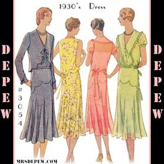 1930's Dress and Bolero Sewing Pattern #3054 from 1930. This is a digital, print-at-home sewing pattern reproduction for a lovely flapper dress. This wonderful design features a bolero jacket with scallop trimming and a bow tie front. The dress can be made sleeveless or with long or short puffed sleeves and has a V-neck with an optional large round collar. The bodice joins the skirt on delicate little scallops and the waist has a sash tie.