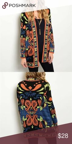 🍁 Bold Cardigan 🍁 This cozy cardigan features bold print all over, long sleeves, and an open front. Colors: black, rust, blue, lime Sweaters Cardigans