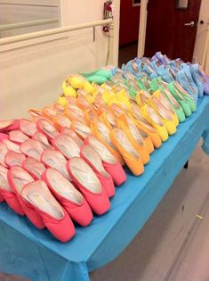 rainbow of pointe shoes