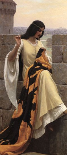 Edmund Blair Leighton. Ummm, this is pretty much me! If I lived hundreds of years ago... I love how she's outside and on the edge. :)
