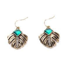 Ladies Noble Elegance Ancient Gold Filled Leaf Imitation Emerald Drop Earrings Great, huh? Visit our store