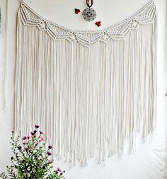 Macrame curtain Macrame wall hanging Macrame wall art  Bohemian wall hanging Banner Macrame Boho decor  Backdrop Macrame garland Cotton cord