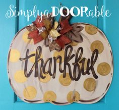 Thankful Pumpkin Wood Door Hanger from Simply aDOORable!  Pumpkin Door Decor, Fall Pumpkin, Fall Decor, Thanksgiving Decor, Thanksgiving by SimplyaDOORableNC on Etsy