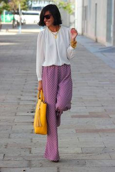 patterned pants wider legs and the great yellow accent with purse, Love!