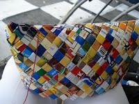 Another way to make a magazine (or candy wrapper) bag (or wallet or clutch).