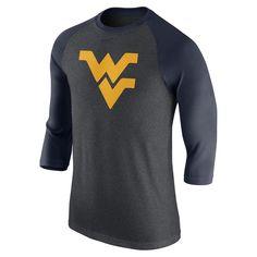 ccf904b039 Men s Nike Heathered Gray West Virginia Mountaineers Logo Tri-Blend  3 4-Sleeve