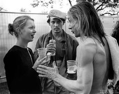 Kate Moss, Johnny Depp And Iggy Pop Talking In Finsbury Park, London, 1996