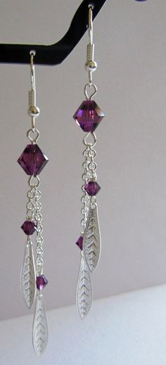 Amethyst Leaf Earrings by MoYuenCreations on Etsy, $10.00