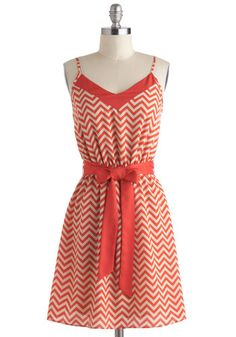 Jagged Little Thrill Dress - Mid-length, Red, White, Chevron, Belted, Casual, A-line, Spaghetti Straps, V Neck