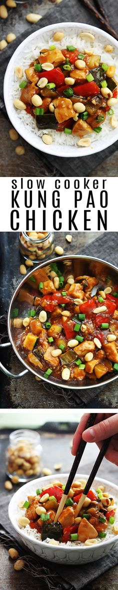 Saucy slow cooker Asian Kung Pao Chicken with a spicy kick! Simple ingredients bring a ton of flavor to this easy-to-make family favorite.