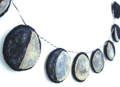 Handmade Montessori Work. The Phases of the Moon -- Needlefelted Wool Felt Garland. Made to Order