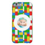 Building Bricks Pattern Custom Photo Barely There iPhone 6 Case more great building block fan lego style gift items for your favorite builder at www.mouseandmarker.com
