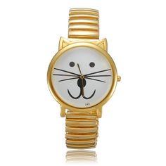 Stainless Steel Cat Beard Mustache Moustache Quartz Wrist Watch