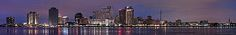 A panorama of the New Orleans skyline from across the Mississippi River. Prints available for sale: Just click the image.  Image is copyrighted, and any unauthorized use is prohibited.