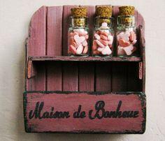 Items similar to Dollhouse miniature shelf, shabby rack + 3 candy glass jars - scale dollhouse furniture on Etsy Shabby, Tiny World, Garden Accessories, Dollhouse Furniture, Dollhouse Miniatures, Crates, Pottery, Shelves, Candy