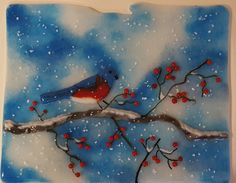 Winter Berries Fused Glass Wall Hanging