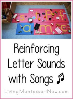 Ideas for using phonics songs and Montessori principles to reinforce letter sounds. Post includes the Montessori Monday permanent collection. Preschool Songs, Preschool Literacy, Preschool Letters, Montessori Activities, Alphabet Activities, Literacy Centers, Montessori Kindergarten, Montessori Homeschool, Montessori Classroom