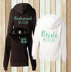 Etsy Monogram Hoodie Bridal Party Sweatshirt Bridesmaid Full Zip Jacket (BR006) B16  #Promotion… #PaidAd #ad #affiliatelink