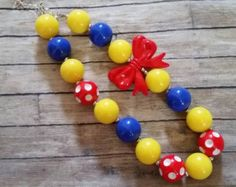 Snow White inspired girls children chunky bubblegum bead necklace, red yellow and blue, big red bow