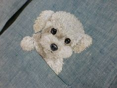 hand embroidered poodle dog in the pocket on the от Hand Embroidery Projects, Cute Embroidery, Hand Embroidery Stitches, Hand Embroidery Designs, Embroidery Techniques, Cross Stitch Embroidery, Machine Embroidery, Thread Painting, Fabric Painting