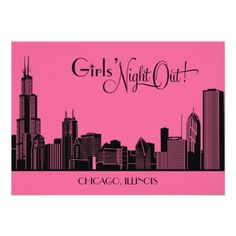 Bachelorette Party Invitations | Chicago Skyline Custom Announcement