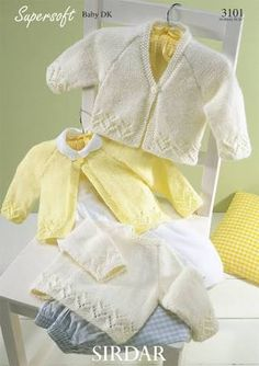 This is one set of knitting patterns that you need for a new baby. A lovely cardigan and pullover set for your baby or to make for a baby shower gift. Sweet and simple, You could omit the lacy part for a little boy. Sirdar Knitting Patterns, Baby Cardigan Knitting Pattern Free, Cardigan Pattern, Baby Patterns, Knit Patterns, Vintage Patterns, Sweater Patterns, Brei Baby, Knitting For Kids