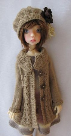 Hand Knit Doll Outfit Set for BJD Doll Laycee SD, new body , Kaye Wiggs.