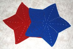 """Crochet a set of """"star"""" placemats in celebration of your graduate!  They're also perfect for your 4th of July celebration too!"""
