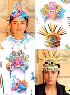 4 Day of the Dead Festival headdress templates Printable El Dia de los Muertos festival headpieces with simple instructions to make at home – 4 amazing bright and bold designs. Celebrate Day of the Dead today! Headdress, Headpiece, Diy Day Of The Dead, Skull Face Paint, Carnival Crafts, Mexican Celebrations, Crafty Kids, Diy Costumes, Mardi Gras