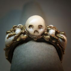 mourning jewelry | ring mourning art skull polymer clay hand made horror mourning jewelry