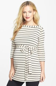 Japanese Weekend Stripe Maternity Tunic | Nordstrom