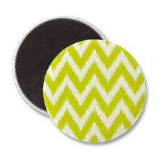 Lime Green Ikat Chevron Refrigerator Magnets (like the chevron in this color)