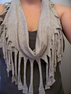 DIY fringe tee shirt scarf - I made this using a tutorial found here on Pinterest. I don't care much for the color. I think it would have turned out much better if I had used a dark colored shirt, because the seems would have been better hidden. I think I will try this again with an old black tee since that is what half of my closet consists of anyway:-)