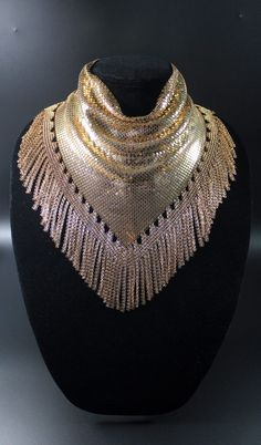 Vtg Gold Mesh Chain Maille Fringe Necklace Early Whiting Davis  Bold Statement! #Choker