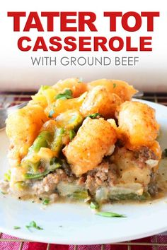 Tater Tot Casserole with layers of green beans, cheese, ground beef, and an easy, homemade cream of mushroom sauce is a hearty dinner idea everyone loves! Easy Tater Tot Casserole, Ground Beef Casserole, Tater Tots, Casserole Recipes, Cowboy Casserole, Hamburger Casserole, Chicken Casserole, Potluck Recipes, Easy Dinner Recipes