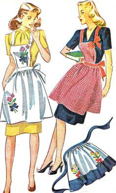 années 1940 tablier modèle simplicité 1162 Womens Full bavoir tablier ou demi motif de couture Vintage Womens hôtesse tablier fleur broderie...