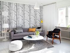 scandinavian interior + wallpaper + yellow accent