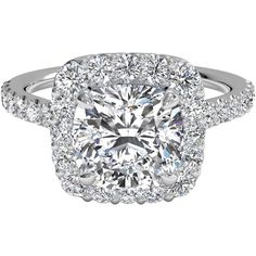 Cushion Cut French-Set Halo Diamond Band Engagement Ring in 14kt White... ❤ liked on Polyvore featuring jewelry, rings, white gold rings, diamond rings, thin band rings, diamond engagement rings and thin rings