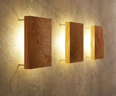 Wandleuchte aus Holz - modern und einzigartig Best Picture For DIY Lighting mason jar For Your Taste You are looking for something, and it is going to tell you exactly what you are looking for, and yo Hallway Wall Lights, Indoor Wall Lights, Hallway Walls, Wooden Wall Lights, Shelves Around Fireplace, Lounge Bar, Diy Luminaire, White Floating Shelves, Living Room Furniture Arrangement