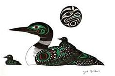 Possibly could add color to loon Inuit Kunst, Inuit Art, Native Canadian, Canadian Art, Loon Tattoo, Kunst Der Aborigines, Haida Art, Native Design, Native American Artists
