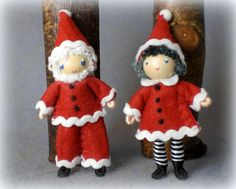 """Santa and Mrs Claus bendy dolls for Christmas.  Can be used as an ornament...less than 3"""" tall.  www.PNTdolls.com"""