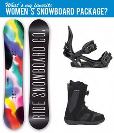 What Do I Think is the Best Snowboard-Binding-Boot Package for Women? I Explain Why I Chose this Complete Snowboard Set and Why it is Not Good for Everyone. Snowboard Set, Snowboard Bindings, Snowboard Packages, Snowboarding Women, Amazing Women, Packaging, Good Things, Wrapping