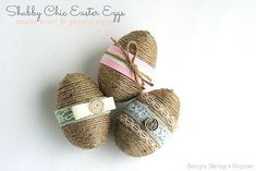 DIY Dollar Store Spring Crafts- Shabby chic eggs