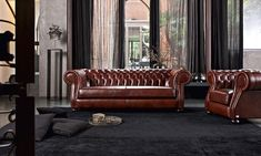 Timeless design, deep buttoning and domed armrests are the typical elements of Chesterfield couch. Room Furniture Design, Luxury Furniture, Living Room Furniture, Chesterfield Style Sofa, Elegant Living Room, Home Decor Online, Modern Interior, Master Bedroom, Interior Decorating