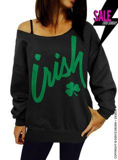 "Use coupon code ""pinterest"" Irish Clover - St. Patricks Day - Black Slouchy Oversized Sweatshirt by DentzDenim"