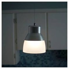 Battery Operated Nickel Glass Pendant Light With Remote