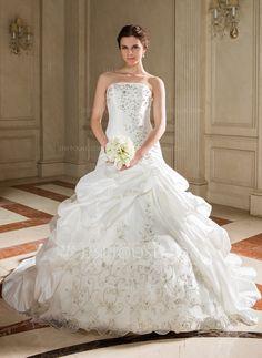 A-Line/Princess Strapless Chapel Train Taffeta Organza Wedding Dress With Embroidery Ruffle Beading Sequins (002011447) - JJsHouse