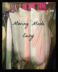 Moving made easy....perfect for out-of-season clothes/coats also. it's a good idea to drop a few cedar balls in the bag (once tied), if you are storing for awhile. If you use white bags, write contents on bag, with a sharpie. If you use a black bag, put on masking tape, then write.